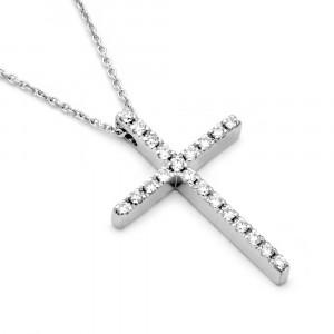 Σταυρός με διαμάντια Κ18