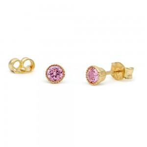 Σκουλαρίκια με ροζ ζιρκόν