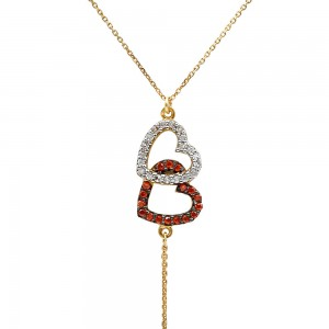 Hearts necklace with zircon
