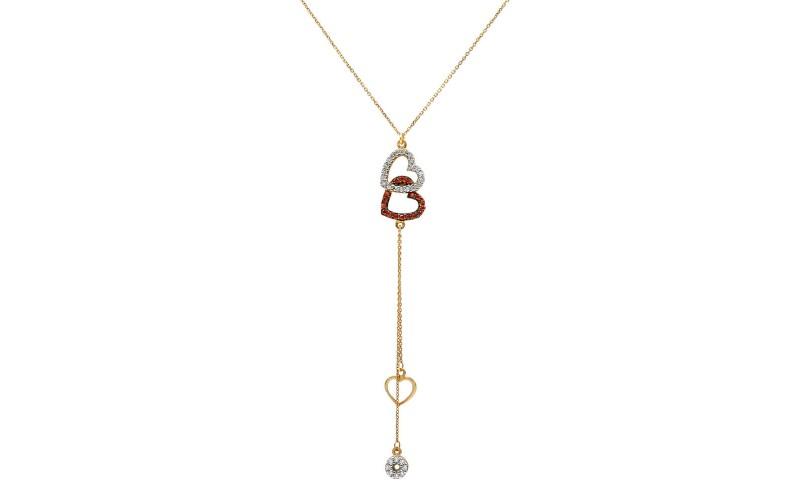 Hearts necklace with zircon