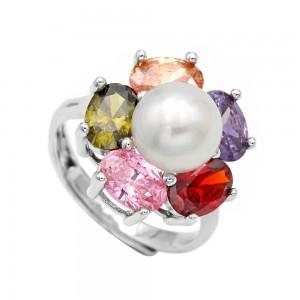 Δαχτυλίδι μαργαριτάρι και ζιρκόν